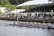 Henley, Great Britain.  Henley Royal Regatta. M8+, Berliner Ruderclub and Olympische Ruder Club, Rostock, GER, pass Stewards' Enclosure, in the semi-final, of the Ladies' Challenge Plate. River Thames Henley Reach.  Royal Regatta. River Thames Henley Reach.  Saturday  02/07/2011  [Mandatory Credit  Intersport Images] . HRR