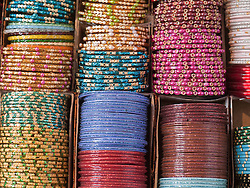 Bangles at stall in Mysore market.