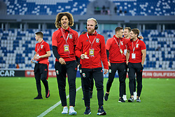 TBILSI, GEORGIA - Friday, October 6, 2017: Wales' Ethan Ampadu and Jonathan Williams before the 2018 FIFA World Cup Qualifying Group D match between Georgia and Wales at the Boris Paichadze Dinamo Arena. (Pic by David Rawcliffe/Propaganda)
