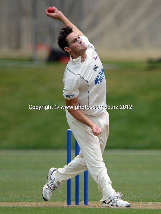 Auckland bowler Mitchell McClenaghan. Plunket Shield Cricket, Auckland Aces v Wellington Firebirds at Eden Park Outer Oval. Auckland on Monday 26 November 2012. Photo: Andrew Cornaga/Photosport.co.nz
