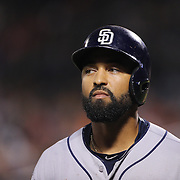 Matt Kemp, San Diego Padres, batting during the New York Mets Vs San Diego Padres MLB regular season baseball game at Citi Field, Queens, New York. USA. 29th July 2015. Photo Tim Clayton