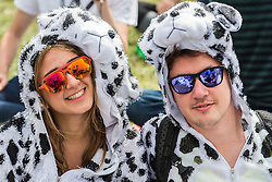 Part of as group who have come dressed as the 101 Dalmations. The 2015 Glastonbury Festival, Worthy Farm, Glastonbury.
