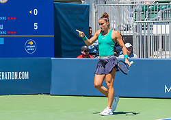 August 5, 2018 - San Jose, CA, U.S. - SAN JOSE, CA - AUGUST 05: Maria Sakkari (GRE) gestures on a line call during the WTA Singles Championship at the Mubadala Silicon Valley Classic  at the San Jose State University Stadium Court in San Jose, CA  on Sunday, August 5, 2018. (Photo by Douglas Stringer/Icon Sportswire) (Credit Image: © Douglas Stringer/Icon SMI via ZUMA Press)