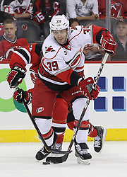 Oct 10; Newark, NJ, USA; Carolina Hurricanes right wing Patrick Dwyer (39) makes a pass during the first period at the Prudential Center.