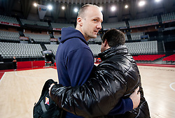Head coach of Lottomatica Saso Filipovski and Head coach of Olimpija Jure Zdovc  during practice session of basketball club KK Union Olimpija day before Euroleague Top 16 Round Match vs Lottomatica Roma, on January 19, 2011 in Arena PalaLottomatica, Rome, Italy. (Photo By Vid Ponikvar / Sportida.com)