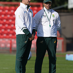 GATESHEAD, ENGLAND - SEPTEMBER 29: Pieter Kruger with Ricardo Loubscher (Backs Coach) of South Africa during the South African national rugby training session at Gateshead International Stadium on September 29, 2015 in Gateshead, England. (Photo by Steve Haag/Gallo Images)