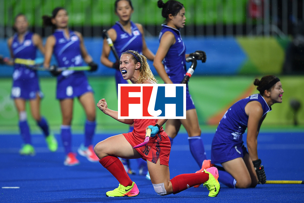 The USA's Katie Bam celebrates scoring a goal during the women's field hockey USA vs Japan match of the Rio 2016 Olympics Games at the Olympic Hockey Centre in Rio de Janeiro on August, 10 2016. / AFP / MANAN VATSYAYANA        (Photo credit should read MANAN VATSYAYANA/AFP/Getty Images)