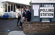 UNITED KINGDOM, London: 7 May 2015,  People arrive to cast there vote for the 2015 Election at a polling station in Richmond, London, England. Andrew Cowie / Story Picture Agency