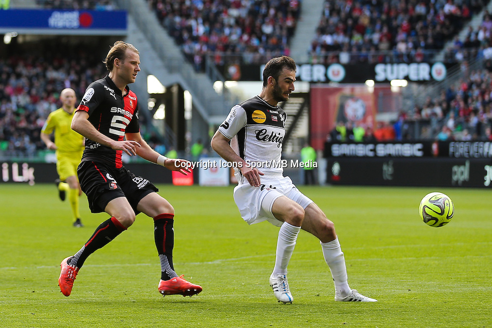Christophe KERBRAT / Ola TOIVONEN - 12.04.2015 - Rennes / Guingamp - 32eme journee de Ligue 1 <br /> Photo : Vincent Michel / Icon Sport