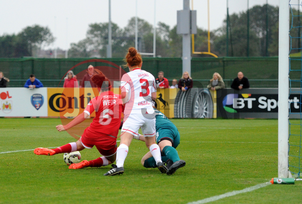Caroline Weir of Bristol Academy Women scores against Liverpool Ladies at Stoke Gifford Stadium - Mandatory by-line: Paul Knight/JMP - Mobile: 07966 386802 - 04/10/2015 -  FOOTBALL - Stoke Gifford Stadium - Bristol, England -  Bristol Academy Women v Liverpool Ladies FC - FA Women's Super League