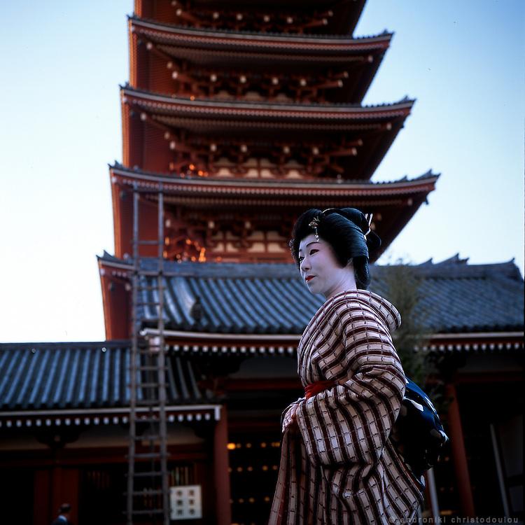 Seiko at Sensoo-ji shrine in Asakusa. She is the top geisha in Asakusa district of Tokyo and she works in a geisha restaurant there. - ASAKUSA - TOKYO..