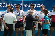 Aiguebelette, FRANCE.   GBR M4X Gold Medallist left. Graeme THOMAS, Sam Townsend, Charles COUSINS  and Peter LAMBERT.  2014 FISA World Cup II, 12:57:36  Sunday  22/06/2014. [Mandatory Credit; Peter Spurrier/Intersport-images]