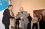 Jeremy Vine and Simon Norfolk, Citibank Photography prize 2003. Photographers Gallery, 27 February 2003. © Copyright Photograph by Dafydd Jones 66 Stockwell Park Rd. London SW9 0DA Tel 020 7733 0108 www.dafjones.com