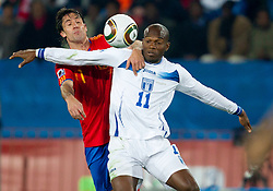 Joan Capdevila of Spain vs David Suazo of Honduras during the 2010 FIFA World Cup South Africa Group H Second Round match between Spain and Honduras on June 21, 2010 at Ellis Park Stadium, Johannesburg, South Africa.   (Photo by Vid Ponikvar / Sportida)