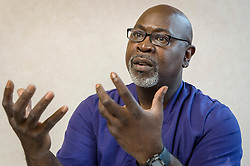 Dr. Willie Parker, speaks during an interview, at the Jackson Women's Health Organization, on Monday August 18, 2014, in Jackson, Mississippi. Parker is one of two doctors, both who travel from out of state, to offer their services, at the last abortion clinic in Mississippi. (Photo © Jock Fistick)