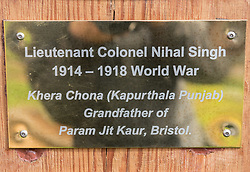 © Licensed to London News Pictures. 02/04/2019. Bristol, UK. The Bristol Sikh War Memorial and Remembrance Garden at the official opening in Bristol's Castle Park. Plaque for Lieutenant Colonel Nihal Singh who fought in the First World War, and whose great grandaughter Bibi Parmjit Kaur was present at the event. The Bristol Sikh War Memorial and Remembrance Garden at the official opening in Bristol's Castle Park, to honour an estimated 83,000 Sikh soldiers who lost their lives in the First and Second World Wars, and more than 100,000 who were seriously wounded. The unveiling was performed by HRH The Duke of Kent, KG. The garden is close to the ruins of St Peter's Church and has been organised by the Bristol Sikh War Memorial Committee to be a peaceful way to remember the Sikh lives lost during the two conflicts. The idea was formed four years ago when Dilawer Singh Potiwal, the project leader of the committee, was attending a commemorative event with long-serving former Labour councillor Ron Stone, who died in 2015, and they had an idea that the Bristol Sikh community do something for their ancestors. All except the architects involved with the war memorial did so as volunteers. Photo credit: Simon Chapman/LNP