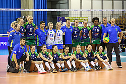 Team PGE Atom Trefl Sopot during the volleyball match between Calcit Ljubljana and PGE Atom Trefl Sopot at 2016 CEV Volleyball Champions League, Women, League Round in Pool B, 1st Leg, on October 29, 2016, in Hala Tivoli, Ljubljana, Slovenia.  (Photo by Matic Klansek Velej / Sportida)