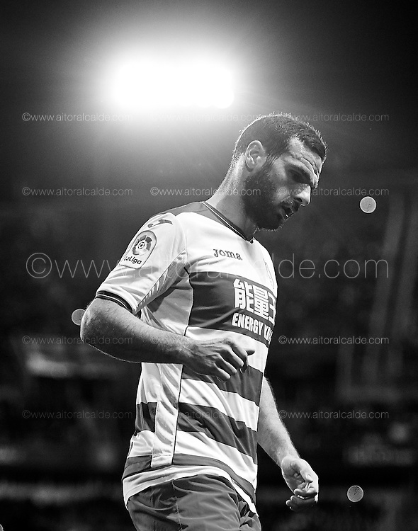 MALAGA, SPAIN - DECEMBER 09:  (EDITORS NOTE: This image has been processed using digitals filters) David Rodriguez Lomban of Granada CF looks on during La Liga match between Malaga CF and Granada CF at La Rosaleda Stadium December 9, 2016 in Malaga, Spain.  (Photo by Aitor Alcalde Colomer/Getty Images)