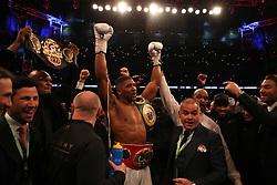 Anthony Joshua celebrates victory over Wladimir Klitschko following the IBF, WBA and IBO Heavyweight World Title bout at Wembley Stadium, London.