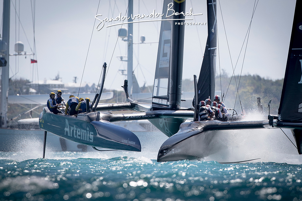 First day of the Louis Vuitton America's Cup Semi-finals. Artemis Racing versus Softbank Team Japan, 1-1, 5th of June, 2017, Bermuda