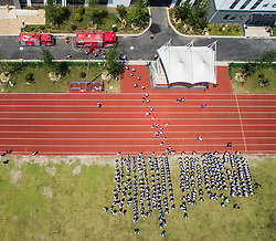 TONGXIANG, May 12, 2016 (Xinhua) -- Students assemble at school playground under the guidance of teachers and volunteers during an evacuation drill in Tongxiang, east China's Zhejiang province, May 12, 2016. This large scale drill was held in Tongxiang No. 3 middle school with over a thousand participants including students, teachers, fire fighters, medical workers and volunteers.(Xinhua/Xu Yu) (gtt) (Credit Image: © Xinhua via ZUMA Wire)