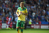 Michael Turner of Norwich city has a drink. Skybet football league championship match, Cardiff city v Norwich city at the Cardiff city Stadium in Cardiff, South Wales on Saturday 13th Sept 2014<br /> pic by Andrew Orchard, Andrew Orchard sports photography.