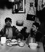 Northumbrian coal miner eating his evening meal, 1937