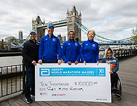 Madison de Rozario AUS winner of the Virgin Money London Marathon with representatives of Abbott at a photocall and press conference at the Guoman Tower Hotel for the winners of the Virgin Money London Marathon, 23 April 2018.<br /> <br /> Photo: Thomas Lovelock for Virgin Money London Marathon<br /> <br /> For further information: media@londonmarathonevents.co.uk