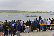 San Diego, California. USA. General Views, Crew Racing, Spectators watch from the Beach. 2013 Crew Classic Regatta, Mission Bay.  08:15:48.  Saturday  06/04/2013   [Mandatory Credit. Peter Spurrier/Intersport Images]  ..