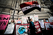 UNITED KINGDOM, London: 6 July 2016 People protest outside the QEII during the announcement of the Chilcot enquiry. The enquiry has taken six years and will be a report into Britain's role in the Iraq war. Pic by Andrew Cowie / Story Picture Agency