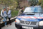 November 8, 2016 - Breil-sur-Roya, France: Cedric Herrou, a 37-year-old farmer, talks with the local police force after he assisted unaccompanied minor migrants from Eritrea with their asylum application. Cedric is one of the 120 inhabitants of the village Breil-sur-Roya in the Roya valley, in the Alps on the French Italian border, who formed a network to help migrants. <br /> <br /> 8 novembre 2016 - Breil-sur-Roya, France: Cedric Herrou, un agriculteur de 37 ans, parle avec la gendarmerie après avoir aidé des migrants mineurs non accompagnés en provenance d'Erythrée avec leur demande d'asile. Cédric est l'un des 120 habitants du village Breil-sur-Roya dans la vallée de la Roya, dans les Alpes, à la frontière franço- italienne, qui a formé un réseau d'aide aux migrants.