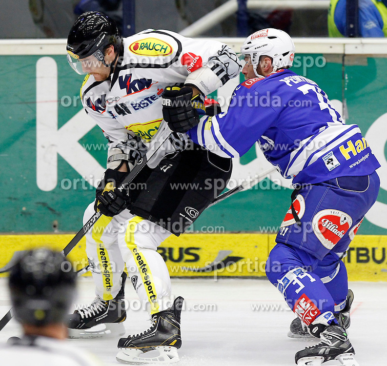 13.11. 2013, Stadthalle, Villach, AUT, EBEL, EC VSV vs Dornbirner EC, 34. Runde, im Bild Matthwe Alex Plante (Dornbirn,#48) und Markus Peintner (VSV,#34)// during the Erste Bank Icehockey League 34th round between EC VSV vs Dornbirner EC, at the City Hall, Villach, Austria, 2013/11/13, EXPA Pictures © 2013, PhotoCredit: EXPA/ Oskar Hoeher