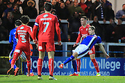 GOAL Steven Davies scores and makes it 3-0 during the EFL Sky Bet League 1 match between Rochdale and Swindon Town at Spotland, Rochdale, England on 19 November 2016. Photo by Daniel Youngs.