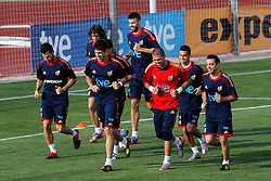 10.06.2010, Sportanlage, Potchefstroom, RSA, FIFA WM 2010, Training Spanien im Bild Spain's Cesc Fabregas,Carles Puyol,Javi Martinez,Gerard Pique,Victor Valdes,Pedro Rodriguez and Xavi Hernandez, EXPA Pictures © 2010, PhotoCredit: EXPA/ Alterphotos/ Acero / SPORTIDA PHOTO AGENCY