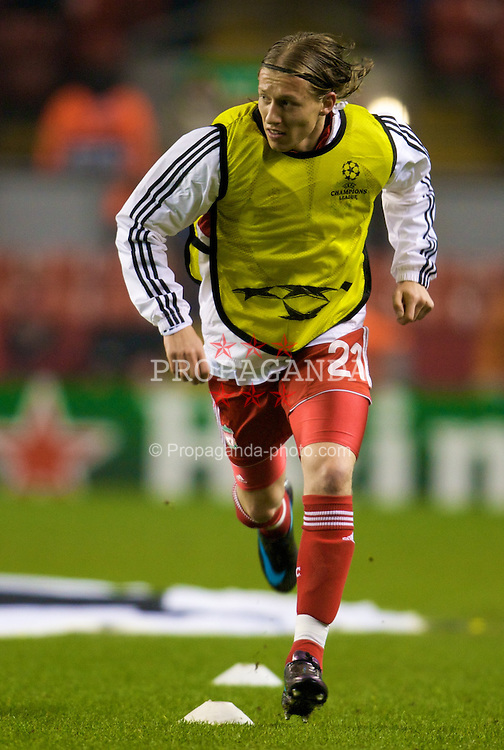 LIVERPOOL, ENGLAND - Tuesday, February 19, 2008: Liverpool's Lucas Levia warms-up before the UEFA Champions League First Knockout Round 1st Leg match at Anfield. (Photo by David Rawcliffe/Propaganda)