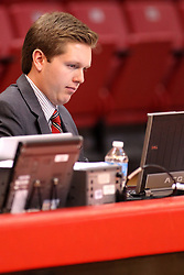 16 November 2014:  Assistant Athletic Director John Twork during an NCAA non-conference game between the Utah State Aggies and the Illinois State Redbirds.  The Aggies win the competition 60-55 at Redbird Arena in Normal Illinois.