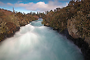 cascading huka falls, in the gorge on waikato river at Taupo, New Zealand