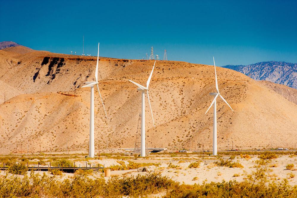 Three large wind turbines near Palm Springs, California