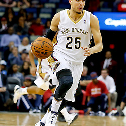 Oct 23, 2013; New Orleans, LA, USA; New Orleans Pelicans shooting guard Austin Rivers (25) against the Miami Heat during the second half of a preseason game at New Orleans Arena. The Heat defeated the Pelicans 108-95. Mandatory Credit: Derick E. Hingle-USA TODAY Sports