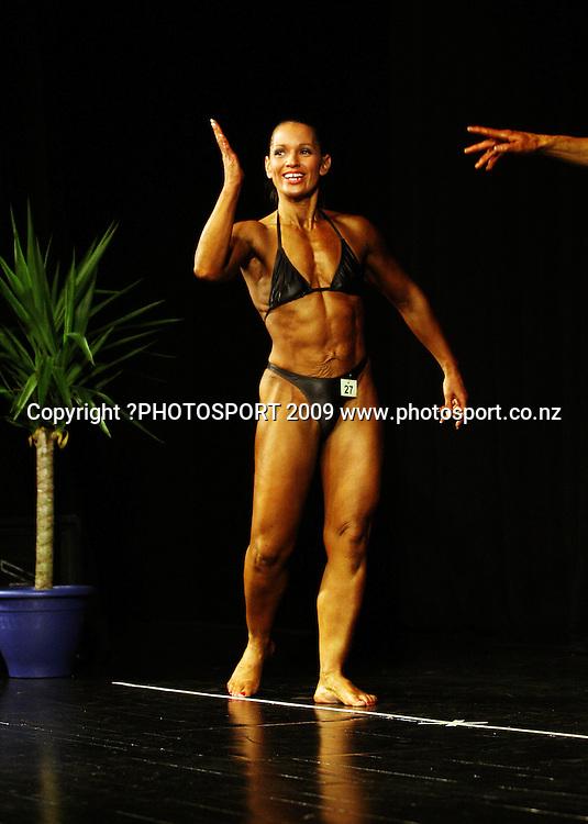 Lauren Turner (Masters Women Over-35).<br /> NZFBB Bodybuilding Championships at Memorial Theatre, Victoria University, Wellington. Saturday, 19 September 2009. Photo: Dave Lintott/PHOTOSPORT