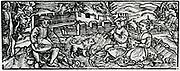 Building a summer house. Woodcut from 'Calendarum Romanum Magnum',  1518.