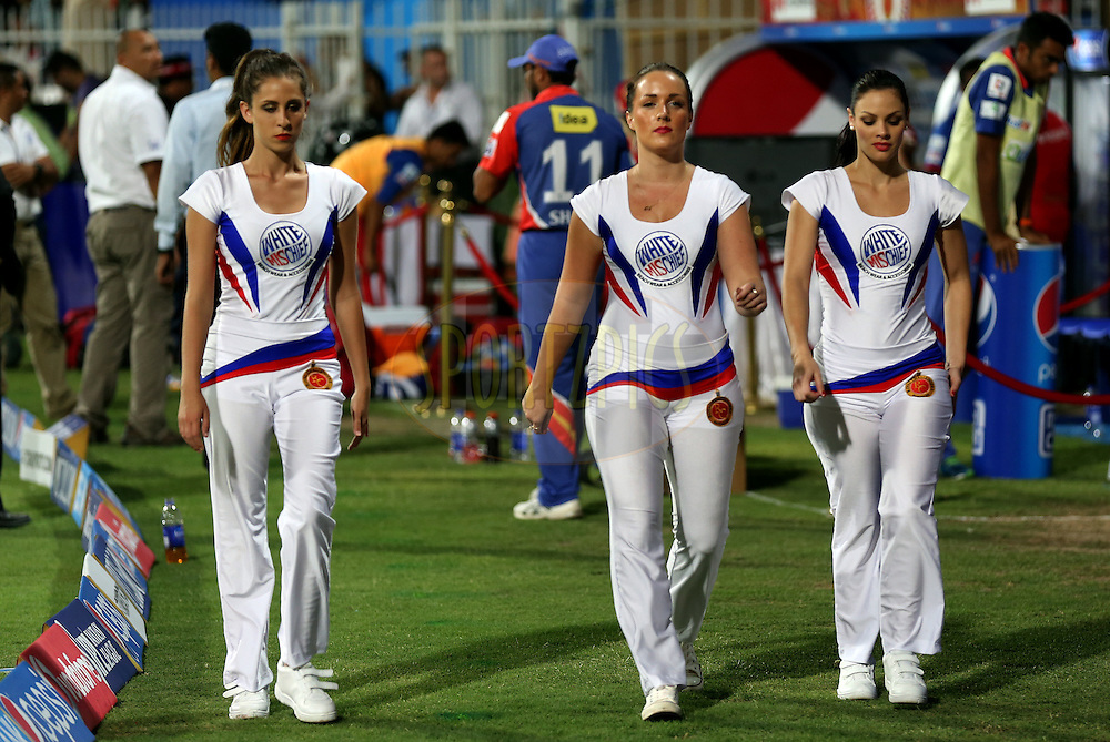 Cheer Leaders during match 2 of the Pepsi Indian Premier League Season 7 between the Delhi Daredevils and The Royal Challengers Bangalore held at the Sharjah Cricket Stadium, Sharjah, United Arab Emirates on the 17th April 2014<br /> <br /> Photo by Sandeep Shetty / IPL / SPORTZPICS