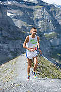 Runner Gerd Frick on the Eiger Moräne during the 21. Jungfrau-Marathon 2013