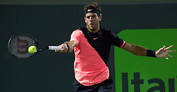 March 28, 2018 - Key Biscayne, Florida, United States - Juan Martin Del Potro, from Argentina, in action against Milos Raonic, from Canada, during his quarter final match at the Miami Open. Del Potro defeated Raonic 5-7, 7-6(1), 7-6(3) in Miami, on March 28, 2018. (Credit Image: © Manuel Mazzanti/NurPhoto via ZUMA Press)