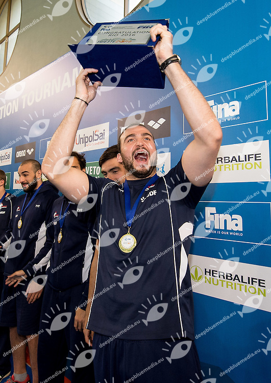 Alexandre Camarasa Captain Team FRA awarded for Olympic qualification, fourth qualified<br /> FINA Men's Water polo Olympic Games Qualifications Tournament 2016<br /> Final 1st place<br /> Hungary HUN (White) Vs Italy ITA (Blue)<br /> Trieste, Italy - Swimming Pool Bruno Bianchi<br /> Day 08  10-04-2016<br /> Photo G.Scala/Insidefoto/Deepbluemedia