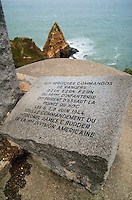 March 1994, France --- A plaque on the Pointe du Hoc Memorial, which overlooks Omaha Beach in Normandy, France. | Location: Pointe du Hoc, overlooking Omaha Beach, Normandy, France.  --- Image by © Owen Franken/Corbis