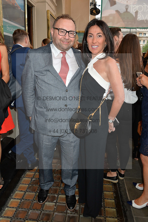 JONATHAN SHALIT and his wife KATRINA at the opening night of Breakfast at Tiffany's at The Theatre Royal, Haymarket, London on 26th July 2016.
