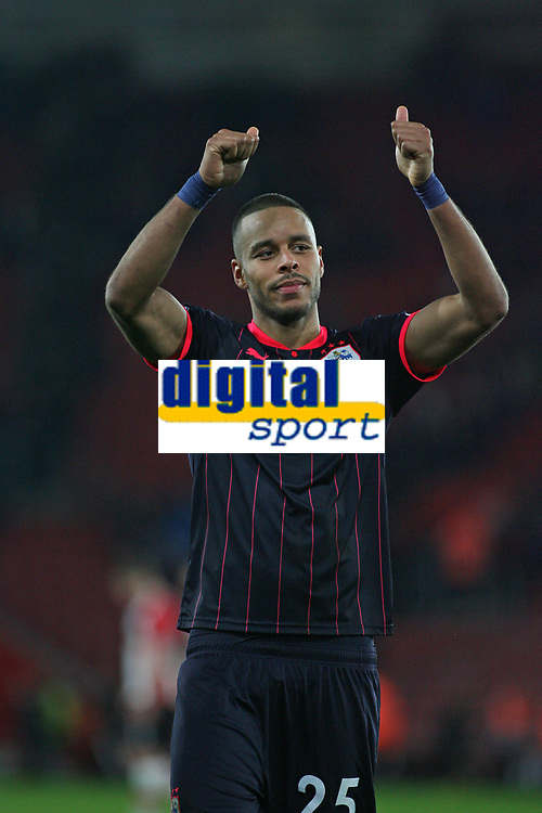 Football - 2017 / 2018 Premier League - Southampton vs. Huddersfield Town<br /> <br /> Mathias Jorgensen of Huddersfield Town gives the traveling Huddersfield fans the thumbs up after the final whistle at St Mary's Stadium Southampton<br /> <br /> COLORSPORT/SHAUN BOGGUST