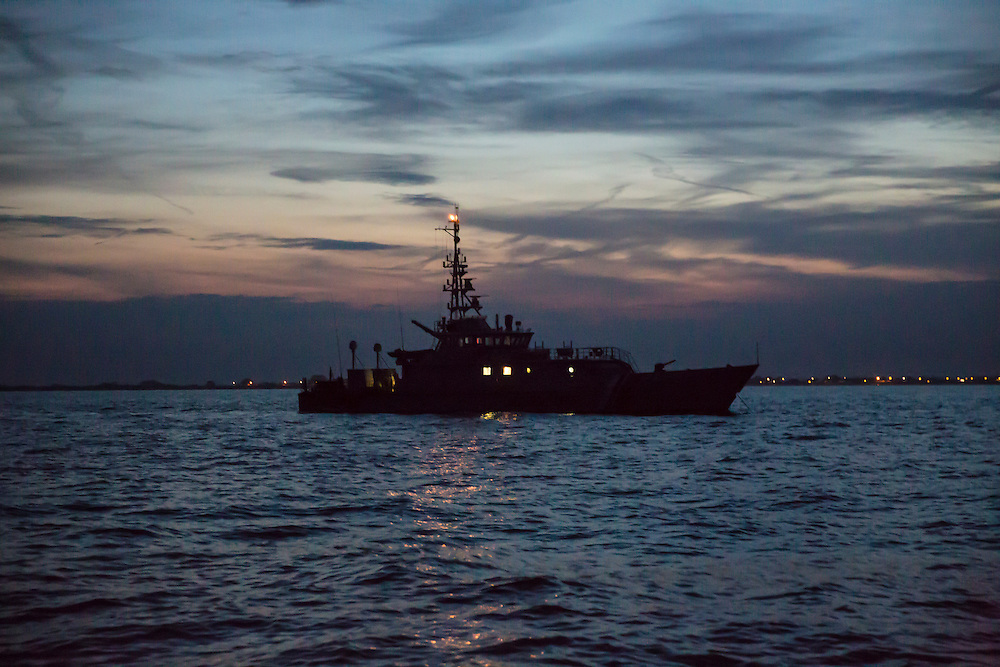 A Home Office Border Force ship patrols the coastline at night in Hythe Bay, Hythe, Kent, England, united Kingdom.  (photo by Andrew Aitchison / In pictures via Getty Images)