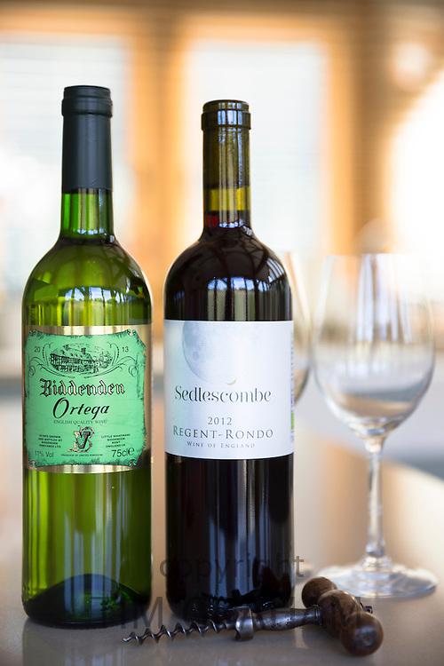 English wine - Bottle of Sedlescombe red wine Regent Rondo and Biddenden Ortega white wine with corkscrew